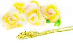 Ожерелье золота с дизайном головы дракона изолированное на белизне Стоковое Изображение RF