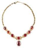ожерелье самоцветов изолированное золотом Стоковое Изображение RF