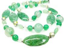 ожерелье шариков зеленое самоцветное Стоковое Изображение