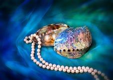 Ожерелье жемчуга, серьги и раковина Paua на голубом Drapery Стоковые Изображения