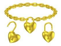 Ожерелье замка сердца золота изолированное шкентелем Стоковая Фотография RF