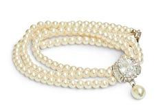 Ожерелье диаманта и жемчуга Стоковые Фото