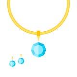 Ожерелье и серьги с камнями бесплатная иллюстрация