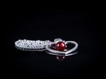 Ожерелье сердца с рубином Стоковая Фотография