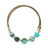 Ожерелье ювелирных изделий при естественные драгоценные камни изолированные на белизне, Стоковые Фотографии RF
