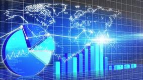 Оживленное представление диаграммы, карта мира, обзор рынка, цена на нефть, рост ВВП бесплатная иллюстрация