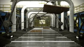 Оживленная абстрактная технологическая промышленная предпосылка транспортера иллюстрация вектора