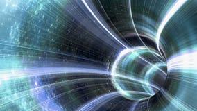 Оживленная червоточина тоннель через космос Петл-способное 4K иллюстрация вектора