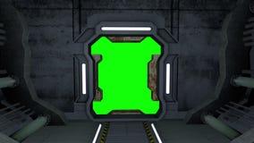 Оживленный коридор Двери с зелеными экраном и альфой штейновым 4K иллюстрация вектора