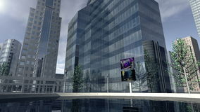 Оживленный современный район 4K деловой компании иллюстрация вектора