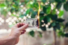 Ожог огня 100 долларов в руке Стоковая Фотография RF