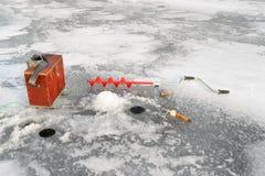 лож Россия transbaikalia льда рыболовства рыб как раз поглотили зиму Стоковая Фотография RF