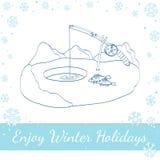 лож льда рыболовства как раз поглотили zander зимы Иллюстрация вектора на белизне Стоковые Фотографии RF