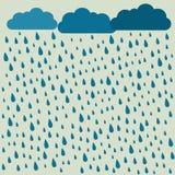 дождь Изображение вектора с облаками в влажном дне Картина дождя Ба дождя Стоковые Фотографии RF