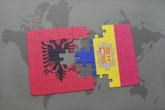 озадачьте с национальным флагом Албании и Андорры на предпосылке карты мира Стоковое Изображение