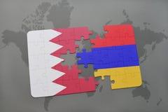 озадачьте с национальным флагом Бахрейна и Армении на предпосылке карты мира Стоковые Изображения