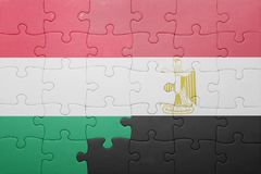 озадачьте с национальным флагом Венгрии и Египта Стоковое фото RF
