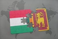 озадачьте с национальным флагом Венгрии и Шри-Ланка на карте мира Стоковое фото RF