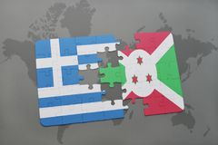 озадачьте с национальным флагом Греции и Бурунди на предпосылке карты мира иллюстрация штока
