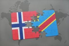 озадачьте с национальным флагом Норвегии и Демократической Республики Конго на карте мира Стоковое Фото