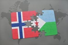 озадачьте с национальным флагом Норвегии и Джибути на карте мира Стоковое Фото