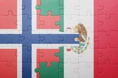 Озадачьте с национальным флагом Норвегии и Мексики Стоковое Изображение RF