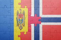 озадачьте с национальным флагом Норвегии и Молдавии Стоковые Фотографии RF