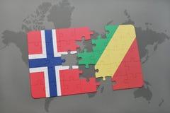 озадачьте с национальным флагом Норвегии и Республики Конго на карте мира Стоковое Фото