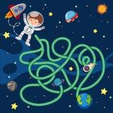 Озадачьте шаблон игры с летанием астронавта в космосе Стоковое Фото