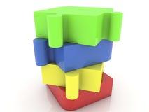 Озадачьте части в различных цветах на белой предпосылке Стоковое Фото