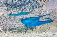 Озера Alouddin, горы Fann, туризм, Таджикистан Стоковая Фотография