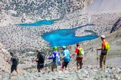 Озера Alouddin, горы Fann, туризм, Таджикистан Стоковое Фото