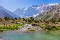 Озера Kulikalon, горы Fann, туризм, Таджикистан Стоковая Фотография RF