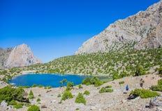 Озера Kulikalon, горы Fann, туризм, Таджикистан Стоковые Изображения RF