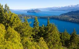 Озера Nahuel Huapi и гора Campanario Стоковые Фото