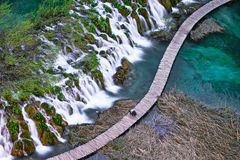 Озера Plitvice с водопадом Стоковые Фотографии RF
