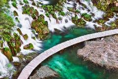Озера Plitvice с водопадом Стоковое Фото