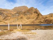 Озера Ritom, Cadagno, Том в осени Стоковые Фото