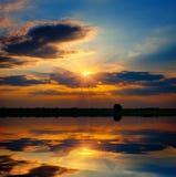 озеро вечера над местом Стоковые Изображения RF