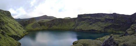 Озеро в кратере вулкана Tjarnargigur стоковые изображения rf