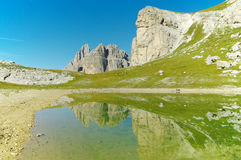 Озеро в доломитах Стоковая Фотография