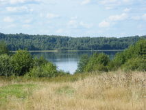 Озеро в поле лета Стоковые Фотографии RF