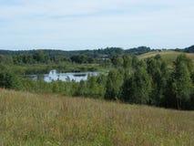 Озеро в поле лета Стоковые Изображения RF