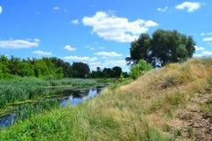 Озеро в степи Стоковая Фотография