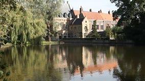 Озеро влюбленност в Брюгге, Бельгии сток-видео