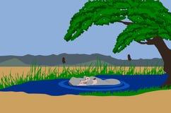 озеро гиппопотама стоковое изображение