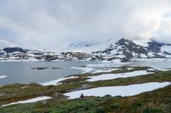Озеро гористой местности зимы и снежные горы Норвегии Стоковое Фото