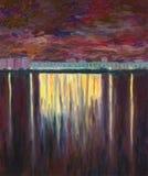 Озеро города Пасмурная ноча весны иллюстрация вектора