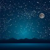 Озеро, горы, звёздное небо 10 eps Стоковое Изображение RF