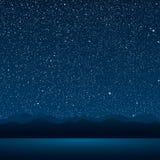 Озеро, горы, звёздное небо 10 eps Стоковые Изображения RF